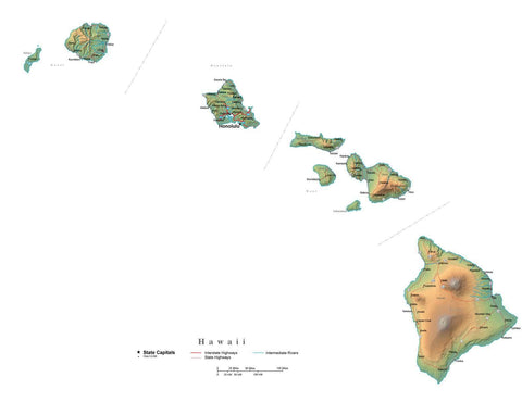 Digital Hawaii State Illustrator cut-out style vector with Terrain HI-USA-241992