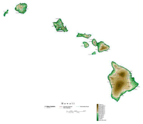Hawaii Map  with Contour Background - Cut Out Style
