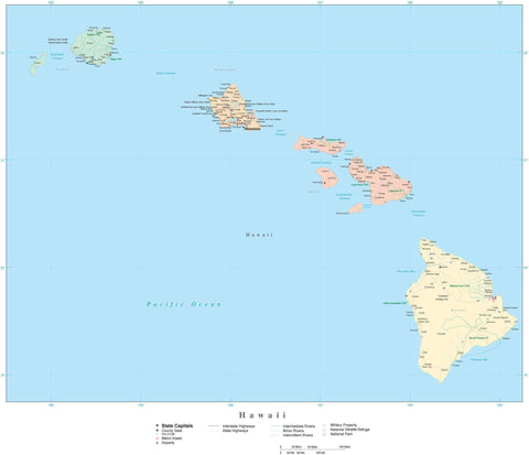 Poster Size High Detail Hawaii Map with Counties, Cities, Highways, Railroads, Airports, National Parks and more