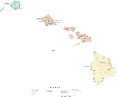 Detailed Hawaii Cut-Out Style Digital Map with Counties, Cities, Highways, and more