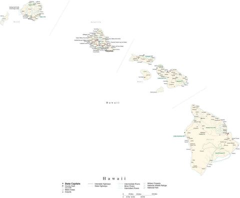 Detailed Hawaii Cut-Out Style Digital Map with County Boundaries, Cities, Highways, and more