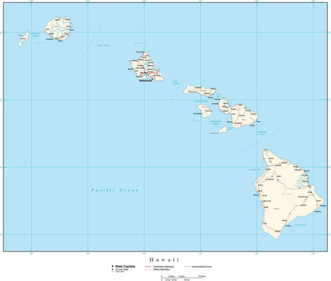 Hawaii Map with Capital, County Boundaries, Cities, Roads, and Water Features