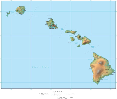 Digital Hawaii Terrain map in Adobe Illustrator vector format with Terrain HI-USA-942220