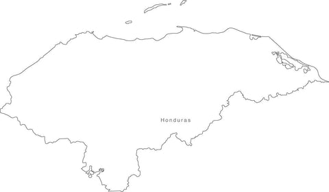 Digital Black & White Honduras map in Adobe Illustrator EPS vector format
