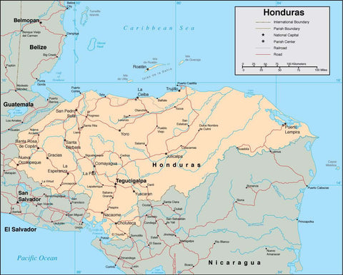 Digital Honduras map in Adobe Illustrator vector format