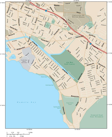 Honolulu Map Adobe Illustrator vector format HNL-XX-984796