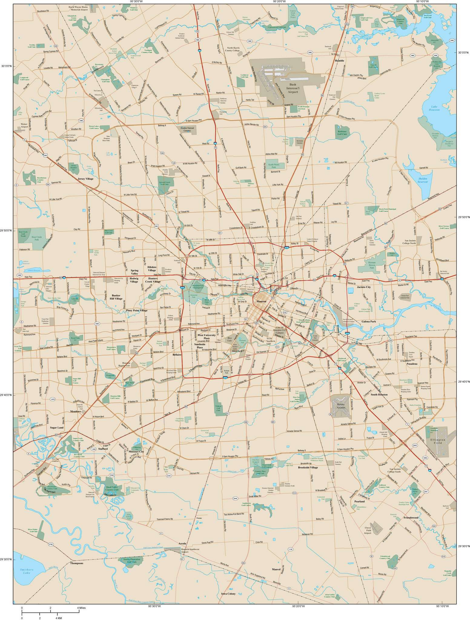 Houston TX Map Metro Area - 1452 square miles - with Arterial and Major  Road Network