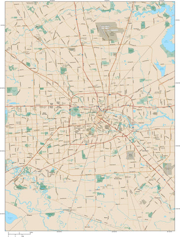 Houston Map TX City Area road map in Adobe Illustrator vector format HOU-XX-983805