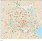 Houston TX Map Metro Area with Arterial and Major Road Network