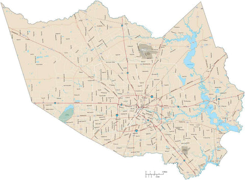 Harris County Texas Map with Arterial and Major Road Network