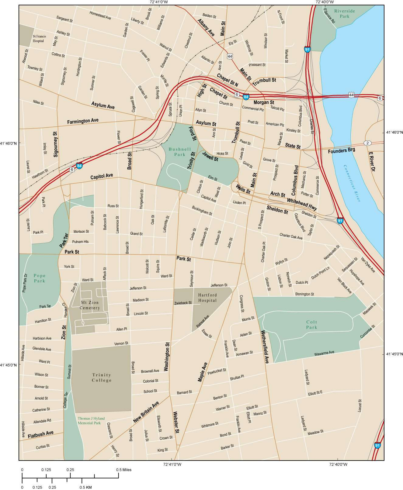 Hartford CT Map - City Center - 4 square miles - with Local Streets