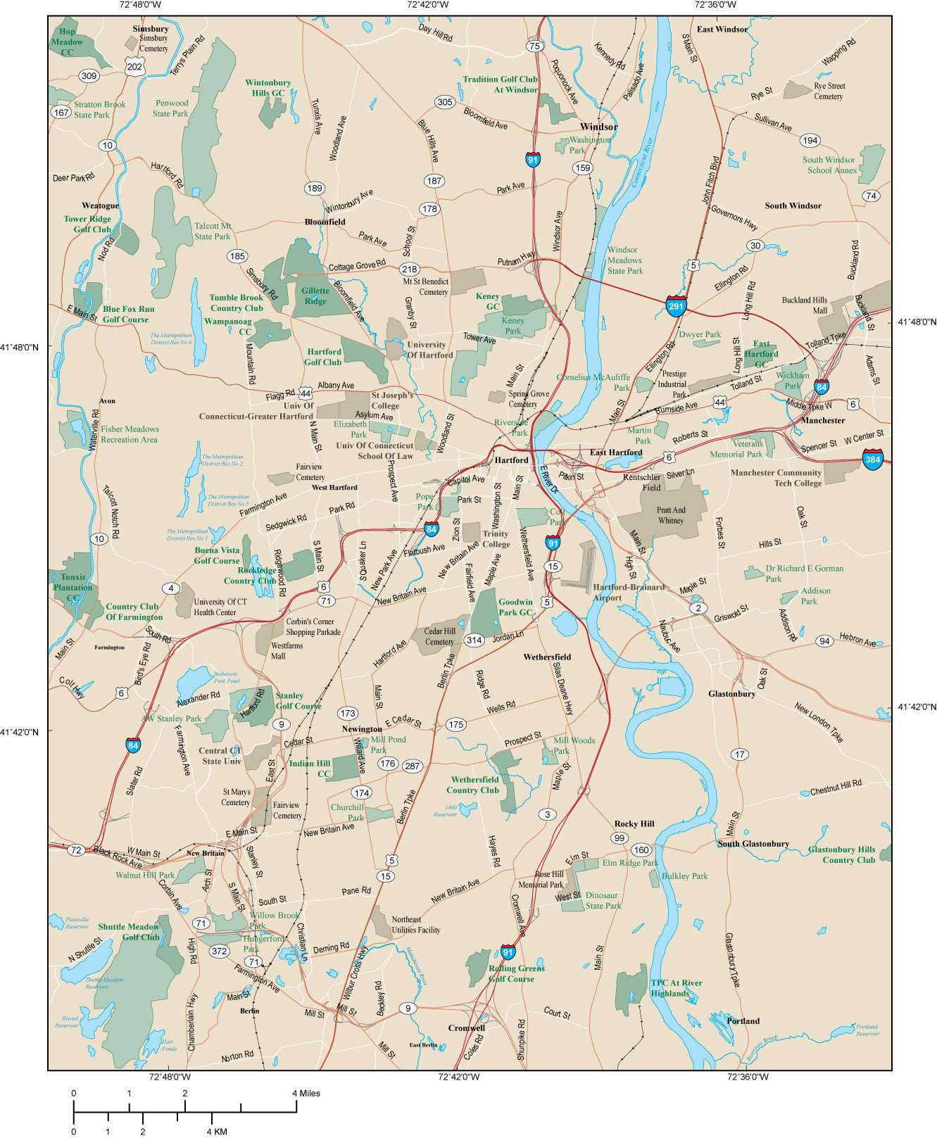 Hartford CT Map - Metro Area - 285 square miles - with Major Roads Only