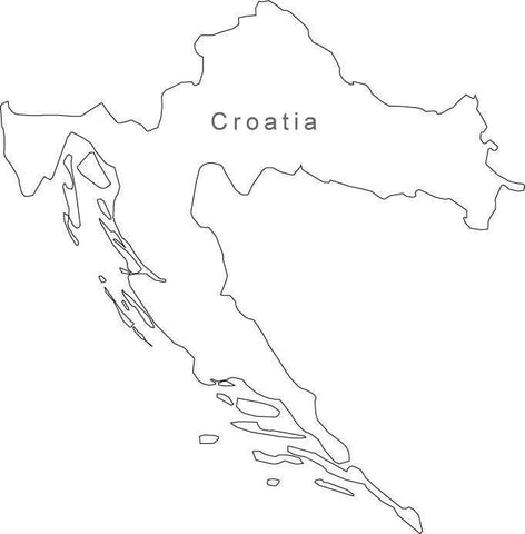 Digital Black & White Croatia map in Adobe Illustrator EPS vector format
