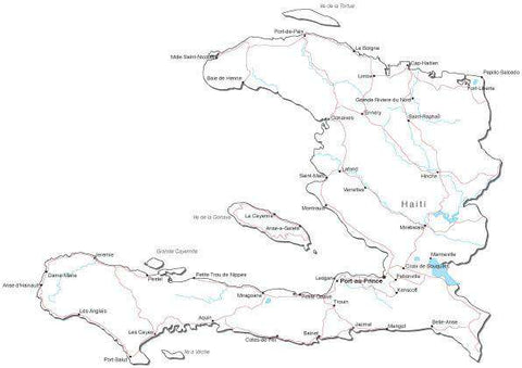 Haiti Black & White Map with Capital, Major Cities, Roads, and Water Features
