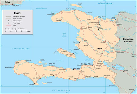 Digital Haiti map in Adobe Illustrator vector format