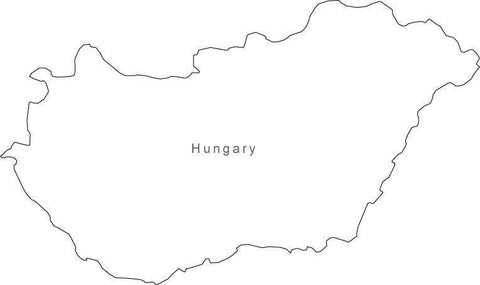 Digital Black & White Hungary map in Adobe Illustrator EPS vector format