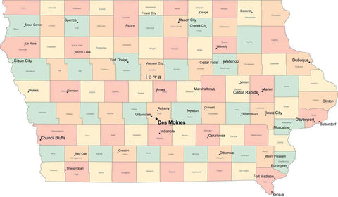 Multi Color Iowa Map with Counties, Capitals, and Major Cities