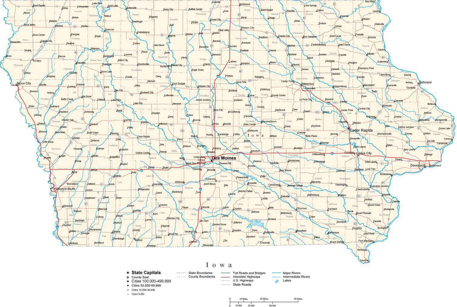 Iowa State Map In Fit Together Style To Match Other States Map