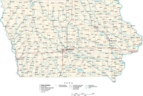 Iowa Map - Cut Out Style - with Counties, Cities, Major Roads, Rivers and Lakes