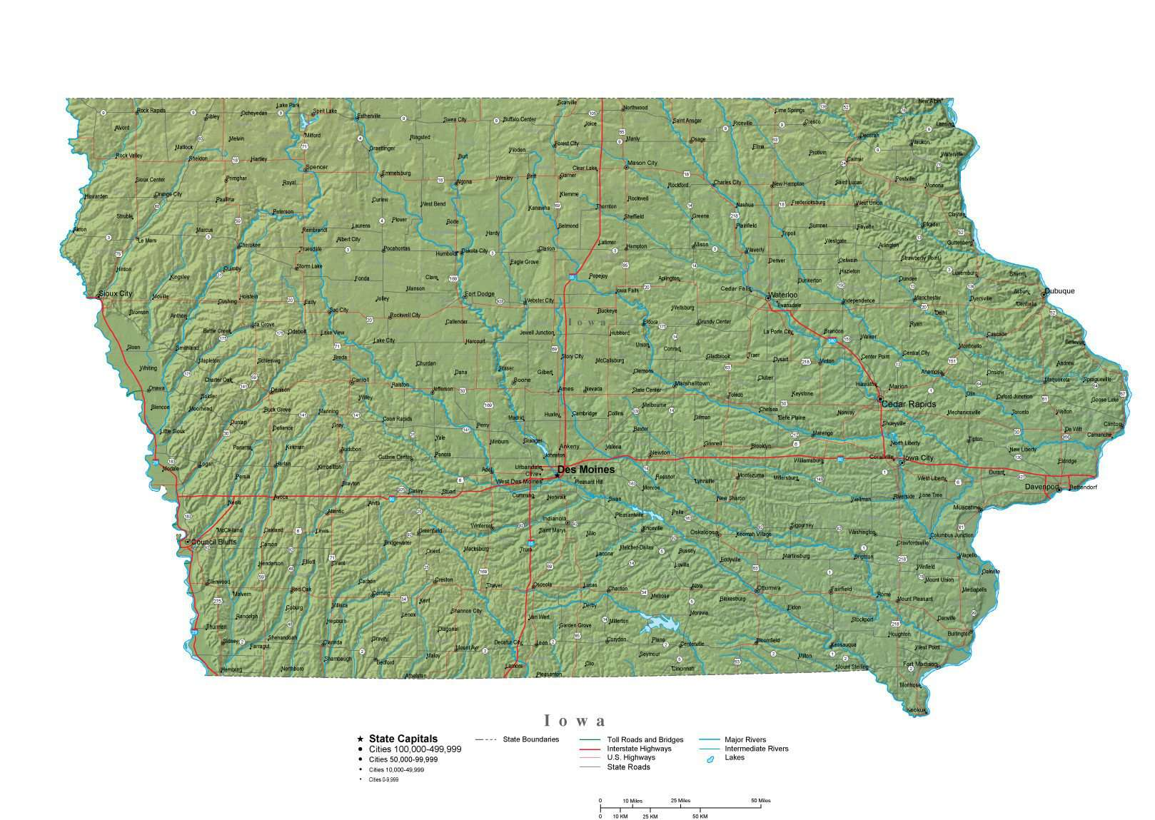 Iowa Illustrator Vector Map With Cities Roads And Photoshop Terrain