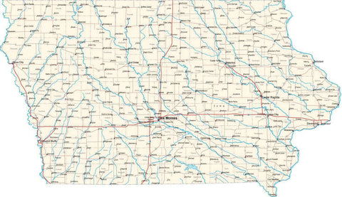 Iowa State Map - Cut Out Style - Fit Together Series
