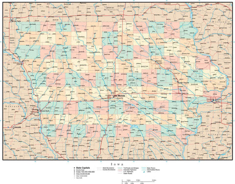 Iowa Map with Counties, Cities, Major Roads, Rivers and Lakes