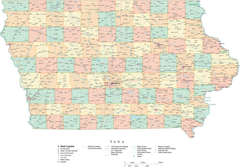 Detailed Iowa Cut-Out Style Digital Map with Counties, Cities, Highways, and more