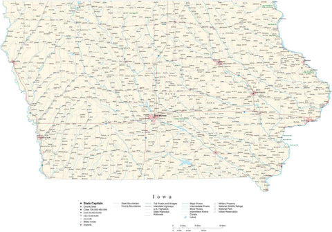 Poster Size Iowa Cut-Out Style Map with County Boundaries, Cities, Highways, National Parks, and more