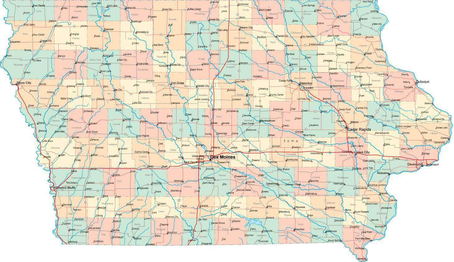 Digital Iowa State Map In Multi Color Fit Together Style To Match