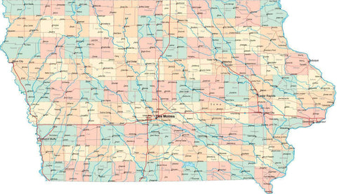 Iowa State Map - Multi-Color Style - Fit Together Series