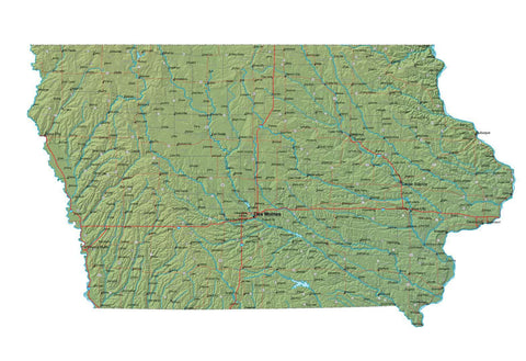 Digital Iowa map in Fit Together style with Terrain IA-USA-852122