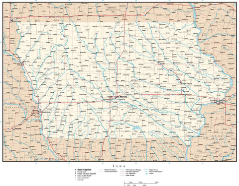 Iowa Map with Capital, County Boundaries, Cities, Roads, and Water Features