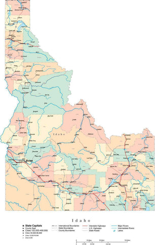 Idaho State Map - Multi-Color Cut-Out Style - with Counties, Cities, County Seats, Major Roads, Rivers and Lakes