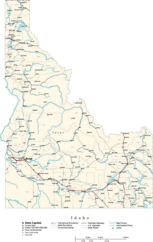 Idaho Map - Cut Out Style - with Capital, County Boundaries, Cities, Roads, and Water Features