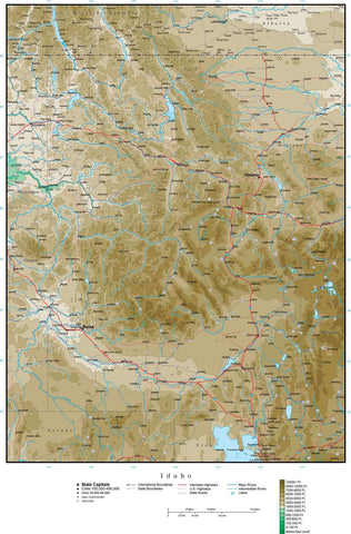 Idaho Map with Contour Background