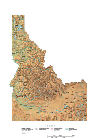 Digital Idaho State Illustrator cut-out style vector with Terrain ID-USA-241999