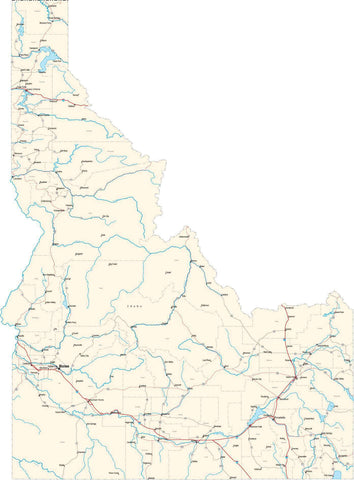 Idaho State Map - Cut Out Style - Fit Together Series