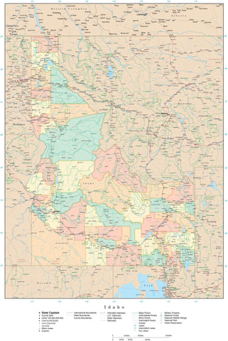 Detailed Idaho Digital Map with Counties, Cities, Highways, Railroads, Airports, and more