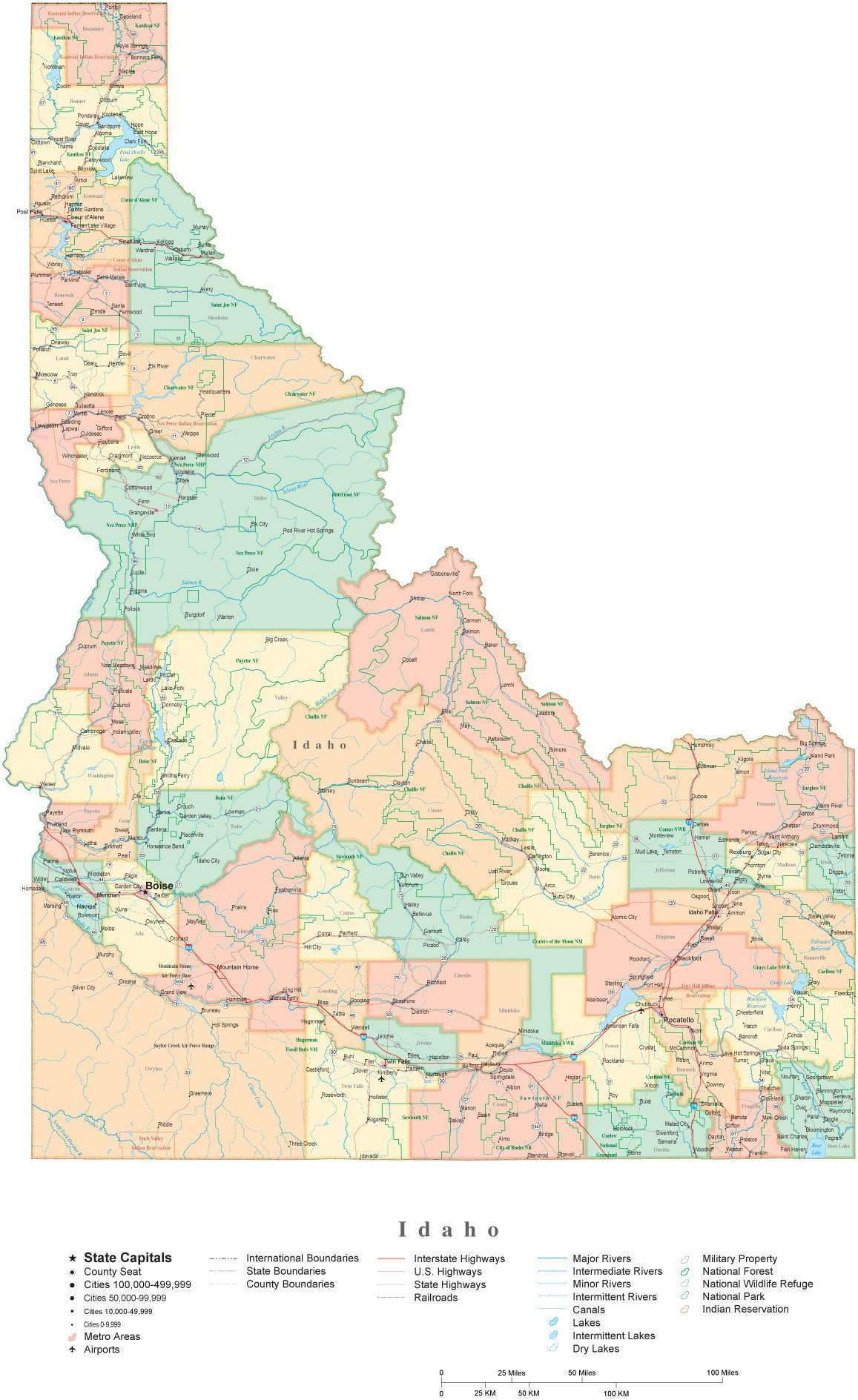 Detailed Idaho Cut-Out Style Digital Map with Counties, Cities, Highways,  National Parks and more