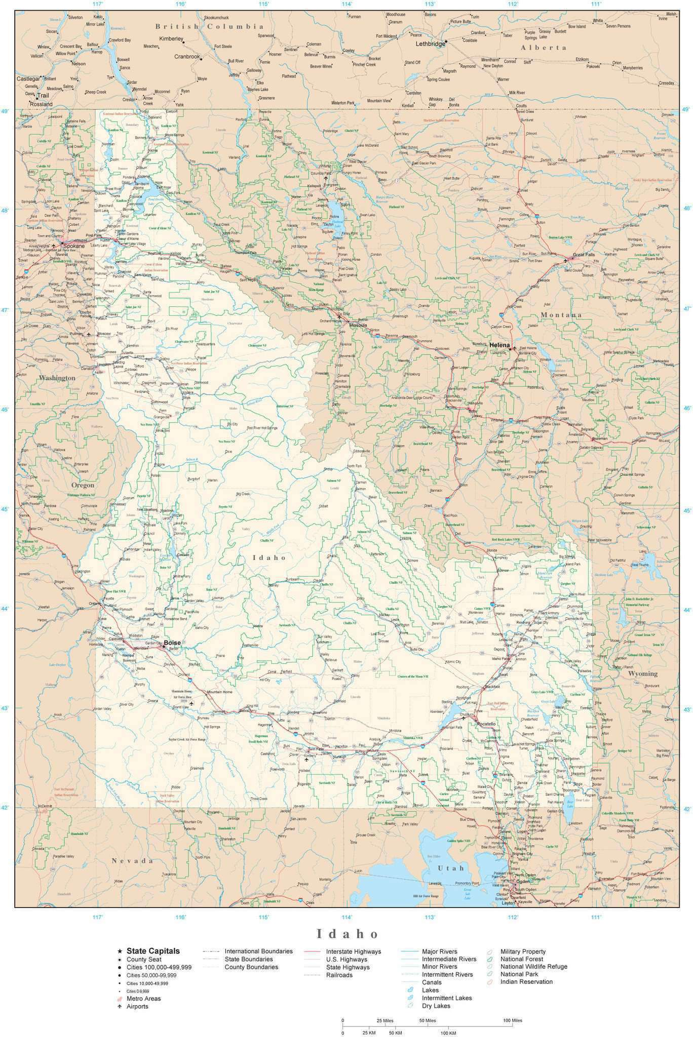 Idaho Detailed Map In Adobe Illustrator Vector Format Detailed