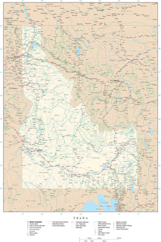 Poster Size Idaho Map with County Boundaries, Cities, Highways, National Parks, and more