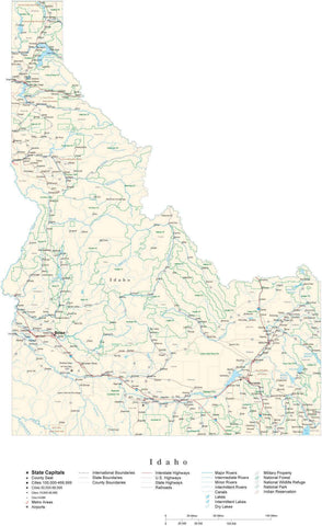 Poster Size Idaho Cut-Out Style Map with County Boundaries, Cities, Highways, National Parks, and more