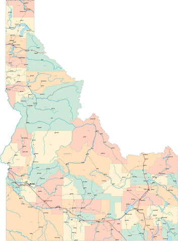 Idaho State Map - Multi-Color Style - Fit Together Series