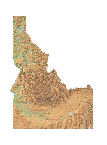 Digital Idaho map in Fit Together style with Terrain ID-USA-852121
