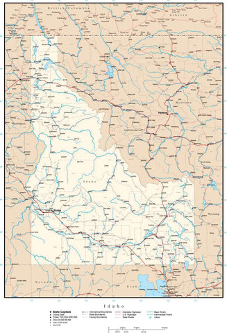 Idaho Map with Capital, County Boundaries, Cities, Roads, and Water Features
