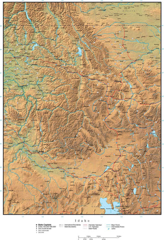 Idaho Map Plus Terrain with Cities  Roads and Water Features