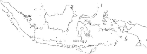 Digital Black & White Indonesia map in Adobe Illustrator EPS vector format