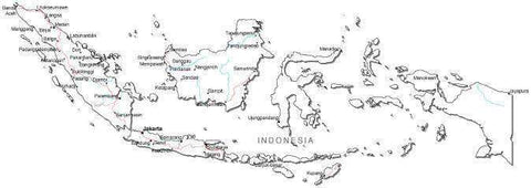 Indonesia Black & White Map with Capital Major Cities and Roads