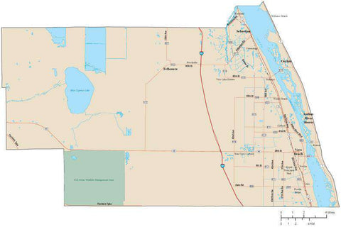 Indian River County Florida Map with Arterial and Major Road Network
