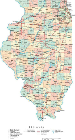 Illinois State Map - Multi-Color Cut-Out Style - with Counties, Cities, County Seats, Major Roads, Rivers and Lakes